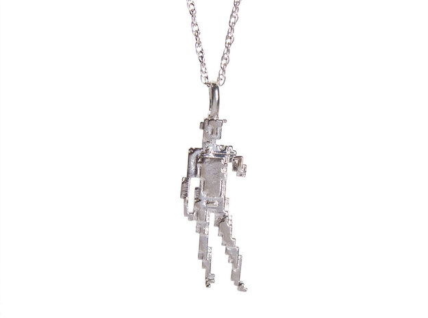 Digital David Pendant in Polished Silver