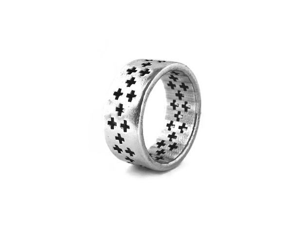 Plus Pattern Ring in Polished Silver