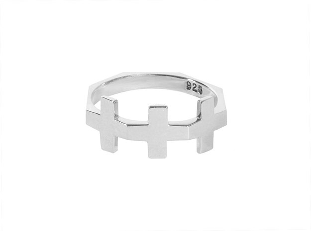 Triple Plus Ring in Polished Silver