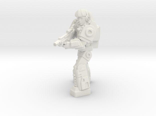 Diaclone Special Weapons Trooper, 35mm mini in White Strong & Flexible