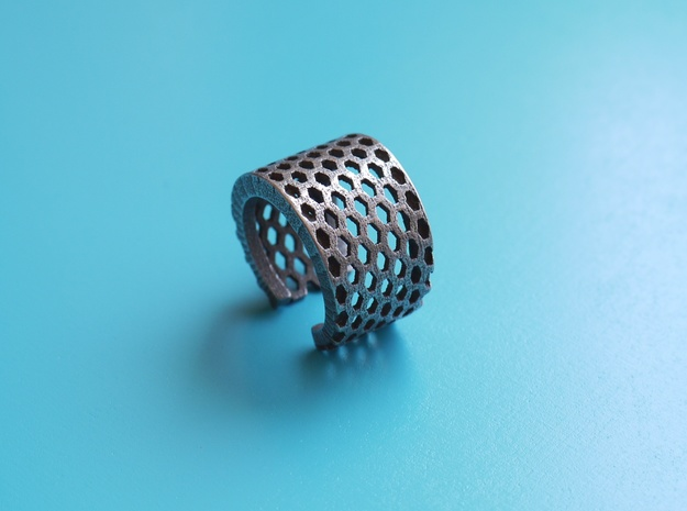 Elongated Honeycomb Ring in Polished Bronzed Silver Steel: 8 / 56.75