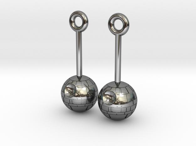 DeathStar earrings 8mm dimameter in Fine Detail Polished Silver