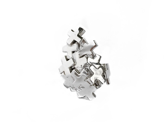 Pile Of Plus Ring in Polished Silver: 9 / 59