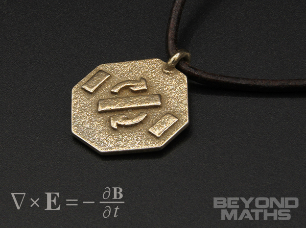 Pendant Faraday's Law in Polished Bronzed Silver Steel
