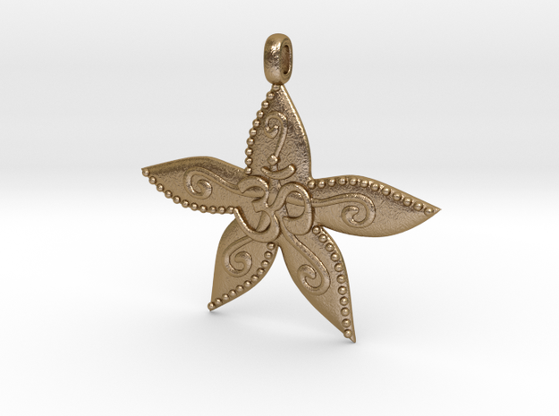 Starfish OM GOA Symbol Jewelry Necklace in Polished Gold Steel