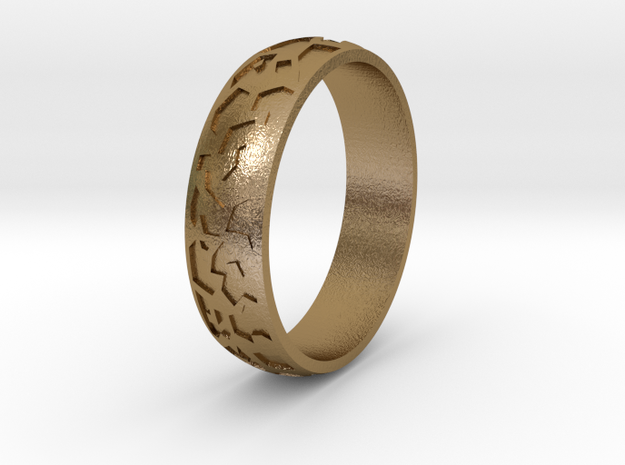 "Ring ""Ornament 2"" in Polished Gold Steel"