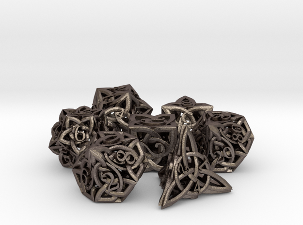 Celtic Dice Set with Percentile D10 in Polished Bronzed Silver Steel