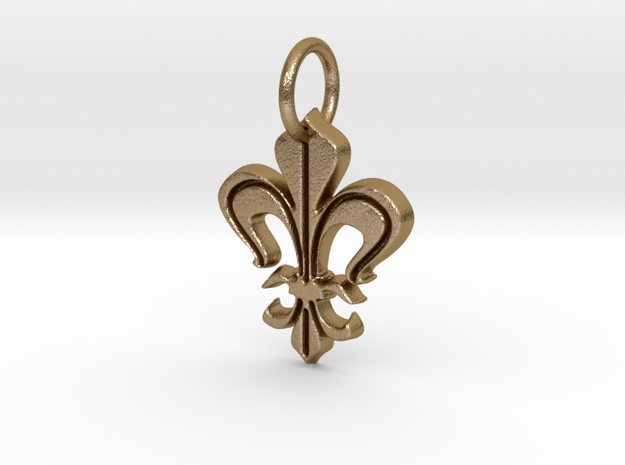 "Heraldic ""Lilie 2"" in Polished Gold Steel"