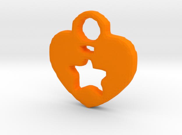 Heart Star Tag/Pendant in Orange Processed Versatile Plastic