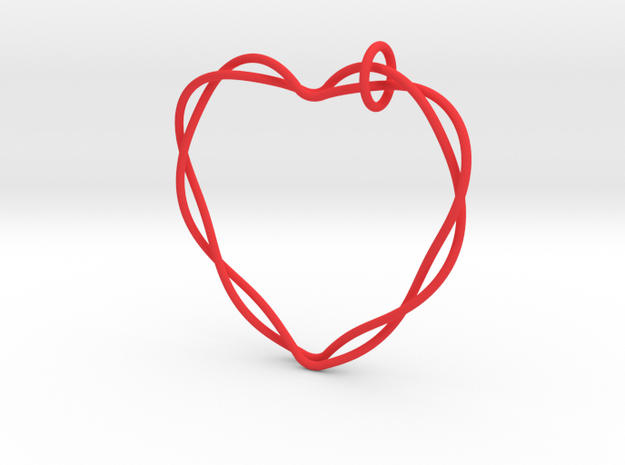 Woven Heart with Bail in Red Processed Versatile Plastic: Extra Small