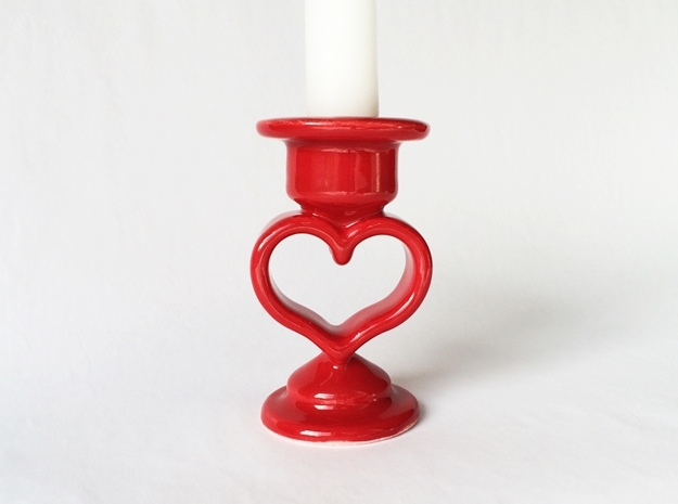 Heart Candle Holder, printed in Porcelain. in Gloss Red Porcelain