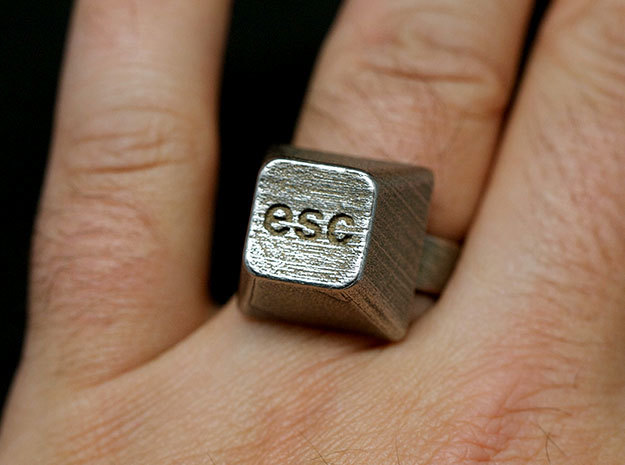 Esc Ring in Polished Bronzed Silver Steel: 10 / 61.5