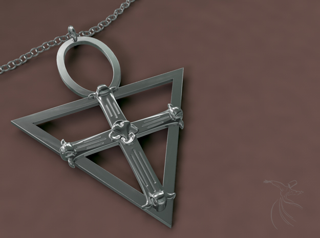 Rose Cross in Polished Silver