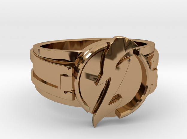 V3 Wavy Flash Ring Size 14 23.01mm in Polished Brass