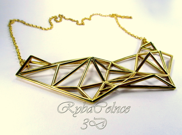 Necklace the Polygon in Polished Gold Steel