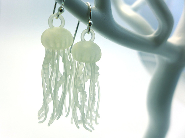 Sea Nettle Jellyfish Earrings in Smooth Fine Detail Plastic