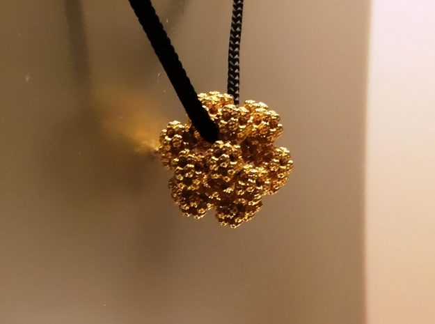 Fractal Dodecahedron Pendant 3d printed Gold Plated Brass
