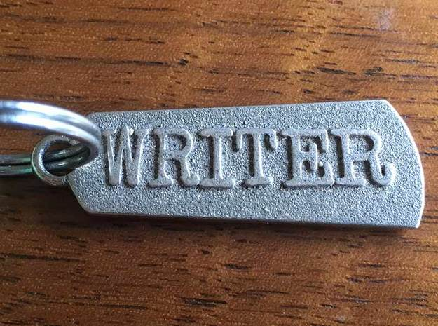 Mighty Writer (2-sided pendant) in Polished Bronzed Silver Steel