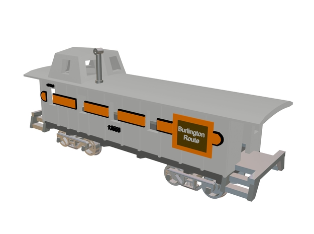 Waycar NE-12 Body Style Caboose 3d printed 3 D Max 8 Drawing