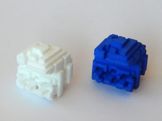 "Pacman Cubed, Small 3d printed Two ""Pacman Cubed"" objects"