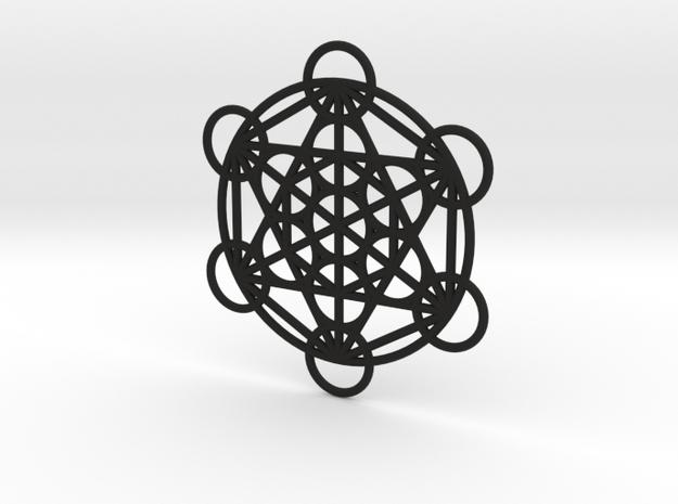 Metatron Grid Pendant in Black Natural Versatile Plastic: Small