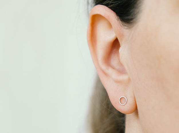 minimal stud earrings in Premium Silver