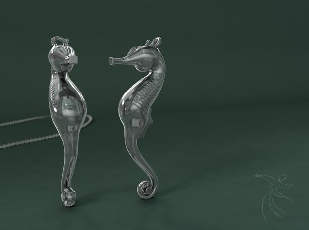 Elegant SeaHorse in Polished Silver