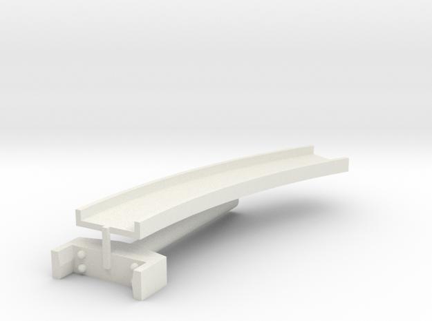 T-gauge curved bridge 158 mm in White Natural Versatile Plastic