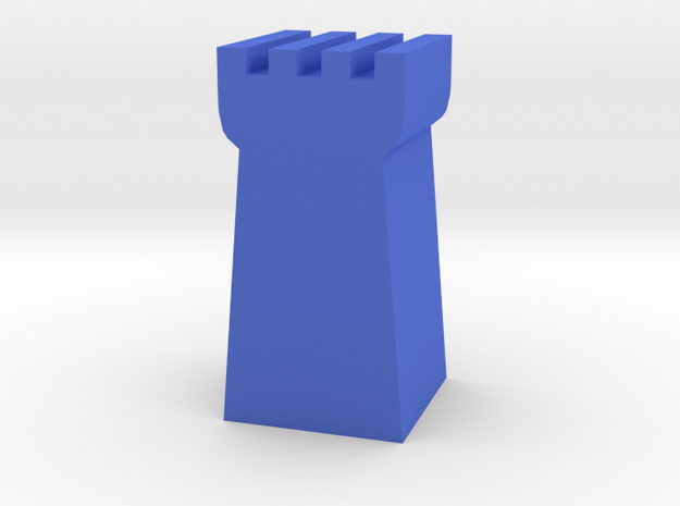 Game Piece, Guard Tower in Blue Processed Versatile Plastic