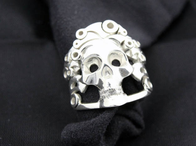 The Handsome Joker - Skull ring in Polished Silver