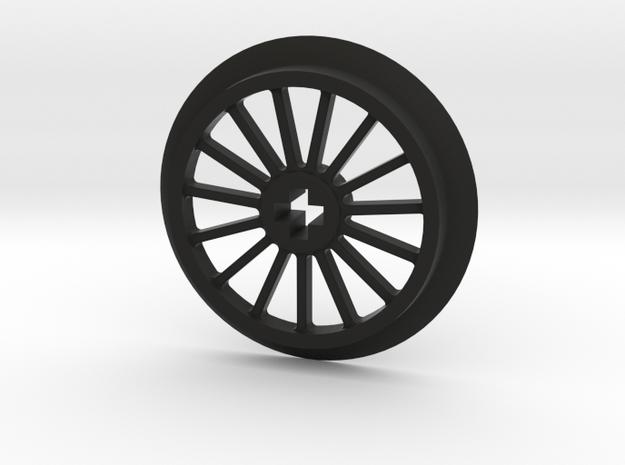 Medlium-Large Thin Train Wheel in Black Natural Versatile Plastic
