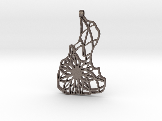 3D Printed Block Island Keychain in Polished Bronzed Silver Steel