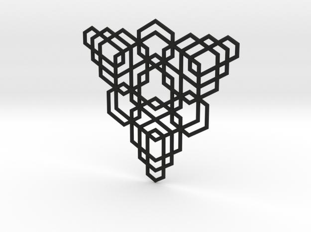Hex Fractal Pendant in Black Natural Versatile Plastic