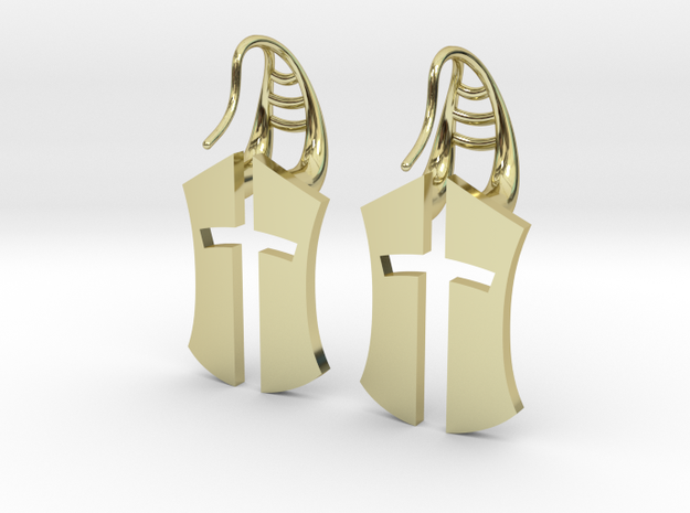 """Nation's Battle"" full Earrings in 18k Gold Plated Brass"