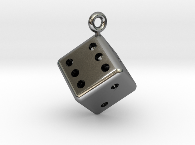 Hollow Dice Pendant in Polished Silver