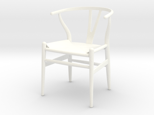 1:12 Chair Wishbone in White Processed Versatile Plastic