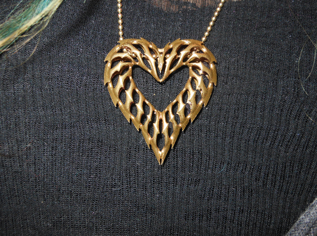 Heart 01 Brass Ready 3d printed