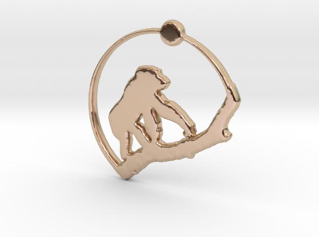 Gorilla Pendant in 14k Rose Gold Plated Brass
