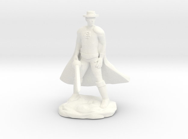 Drow with Mask and Rapier in White Processed Versatile Plastic