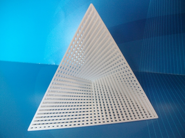 Wired Tetrahedron in White Natural Versatile Plastic