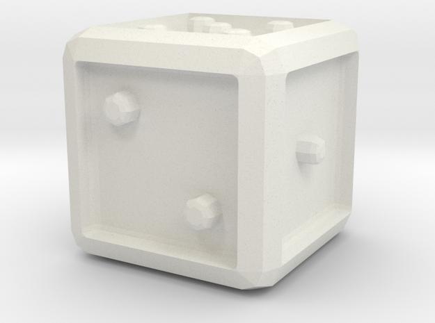 Dice/Cube in White Natural Versatile Plastic