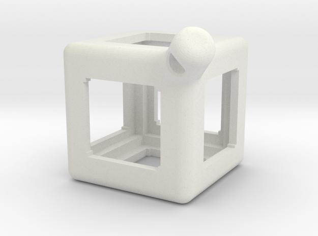 FidgetKeyCube Rev1 in White Natural Versatile Plastic