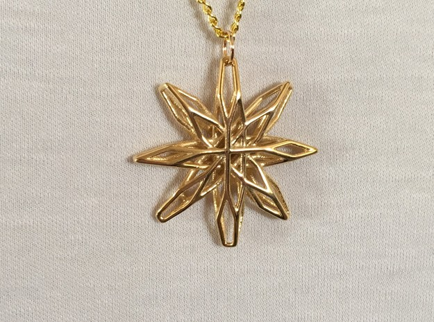 Star Voronoi in 14k Gold Plated Brass