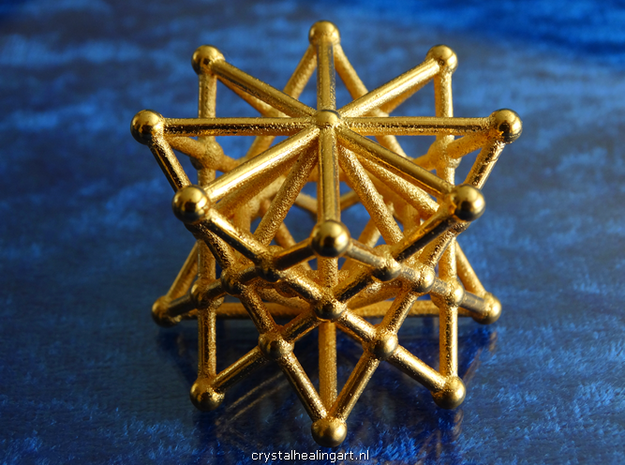 Double Merkaba in Polished Gold Steel