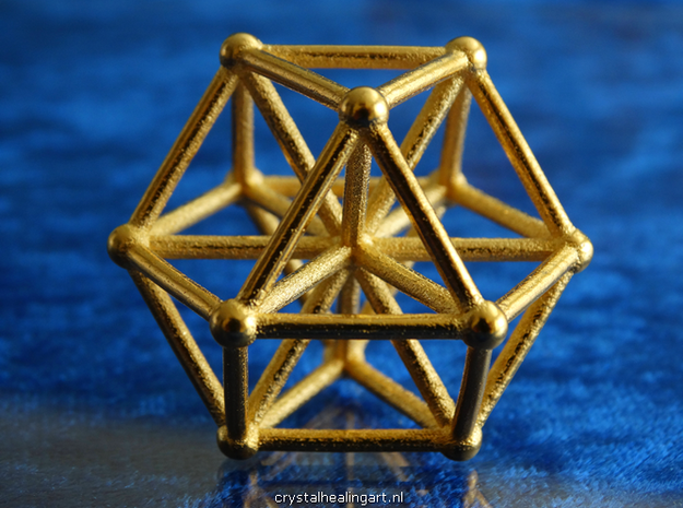 Vector Equilibrium - Cube Octahedron in Polished Gold Steel