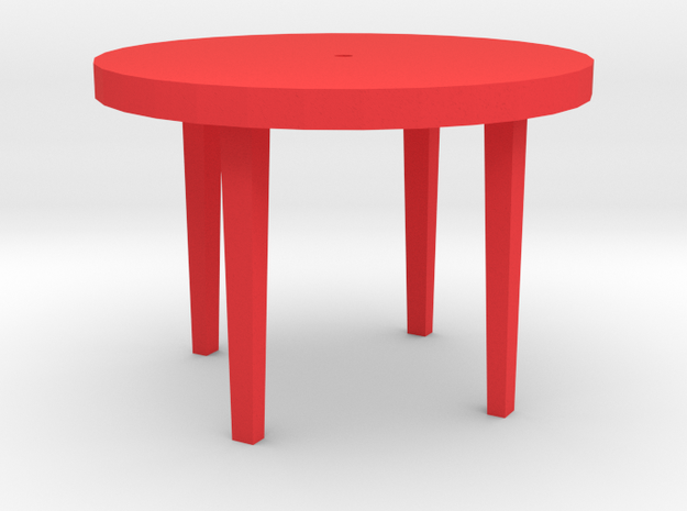Patio Table With Tapered Legs. in Red Strong & Flexible Polished