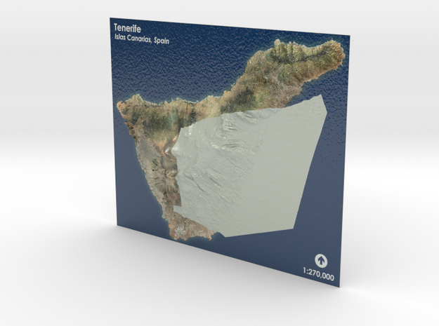 Tenerife Map, Canary Islands - Large in Coated Full Color Sandstone