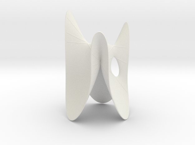 Cubic KM 15 cylinder cut with lines in White Natural Versatile Plastic