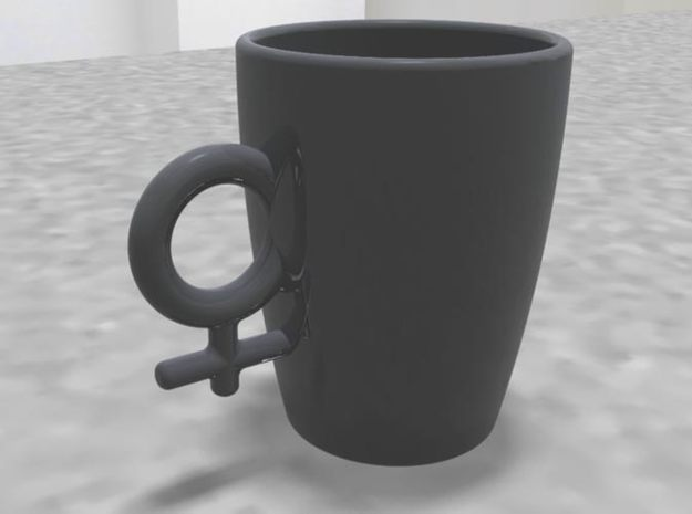 "Large Coffee Cup ""Hers"" 3d printed"
