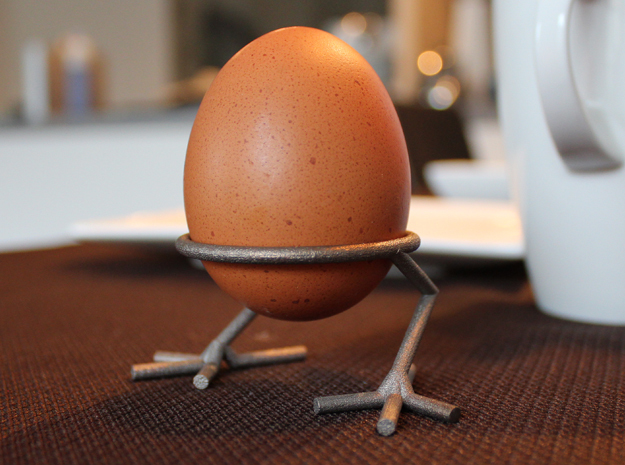 Chick Eggcup in Polished Bronzed Silver Steel